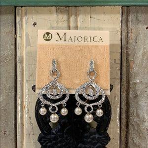 Majorica Drop Chandelier Earrings Sterling/CZ